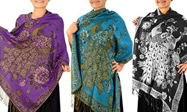 Purple Turquoise Black 3 Pack Floral Peacock Reversible Pashmina Wrap Shawl Scarf