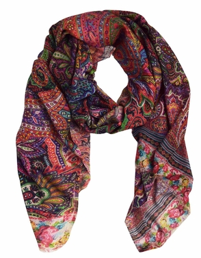 Rose Border Digital Printed Rainbow Multicolored Light Fringe Scarf