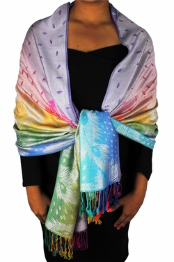 Faded Lavender Rainbow Silky Tropical Feather Pashmina Wrap Shawl Scarf