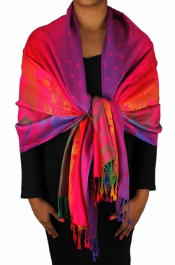 Fuchsia Rainbow Silky Tropical Feather Pashmina Wrap Shawl Scarf