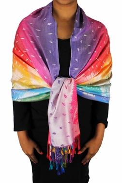 Rainbow Silky Tropical Feather Pashmina Wrap Shawl Scarf (Lavender)