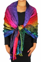 Peacock Rainbow Silky Tropical Feather Pashmina Wrap Shawl Scarf