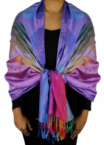 Purple Fade Rainbow Silky Tropical Feather Pashmina Wrap Shawl Scarf