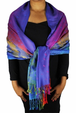Sea Blue Rainbow Silky Tropical Feather Pashmina Wrap Shawl Scarf