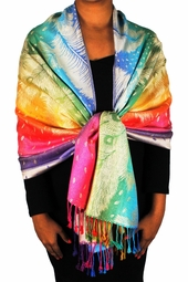 Tan Rainbow Silky Tropical Feather Pashmina Wrap Shawl Scarf