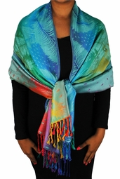 Teal Rainbow Silky Tropical Feather Pashmina Wrap Shawl Scarf