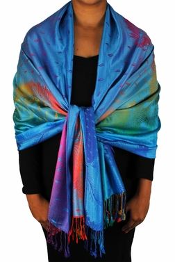Tropical Blue Rainbow Silky Tropical Feather Pashmina Wrap Shawl Scarf
