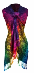 Dark Navy Rainbow Silky Tropical Hibiscus Floral Pashmina Wrap Shawl Scarf