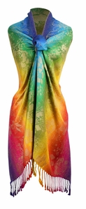 Faded Rainbow Rainbow Silky Tropical Hibiscus Floral Pashmina Wrap Shawl Scarf