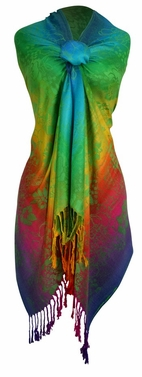Rainbow Silky Tropical Hibiscus Floral Pashmina Wrap Shawl Scarf (Green)