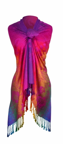 Hot Pink Rainbow Silky Tropical Hibiscus Floral Pashmina Wrap Shawl Scarf