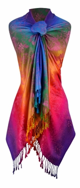 Rainbow Silky Tropical Hibiscus Floral Pashmina Wrap Shawl Scarf