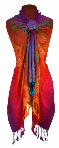 Red Orange Rainbow Silky Tropical Hibiscus Floral Pashmina Wrap Shawl Scarf