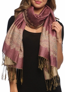 Baby Pink Light Gold Ravishing Reversible Pashmina Shawl with Braided Fringe