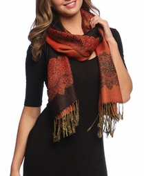 Black Red Ravishing Reversible Pashmina Shawl with Braided Fringe
