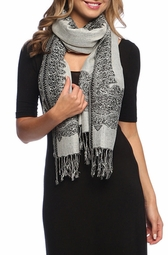 Black White Ravishing Reversible Pashmina Shawl with Braided Fringe