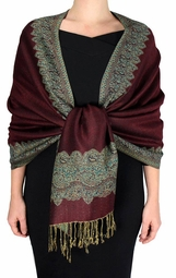 Cranberry Red Dark Gold Ravishing Reversible Pashmina Shawl with Braided Fringe