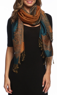 Dark Teal Gold Ravishing Reversible Pashmina Shawl with Braided Fringe