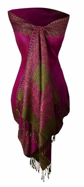 Ravishing Reversible Pashmina Shawl with Braided Fringe (Fuchsia)