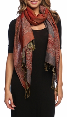 Grey/Red Ravishing Reversible Pashmina Shawl with Braided Fringe