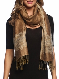 Khaki/Gold Ravishing Reversible Pashmina Shawl with Braided Fringe