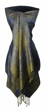 Ravishing Reversible Pashmina Shawl with Braided Fringe (Navy)