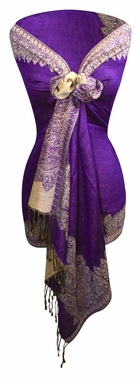 Purple/Light Gold Ravishing Reversible Pashmina Shawl with Braided Fringe