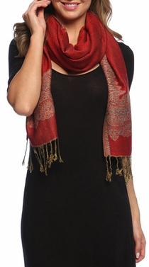 Red/Light Gold Ravishing Reversible Pashmina Shawl with Braided Fringe