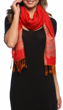 Ravishing Reversible Pashmina Shawl with Braided Fringe (Red/Orange)
