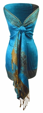 Teal Gold Ravishing Reversible Pashmina Shawl with Braided Fringe