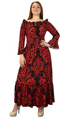 Red Black Gypsy Boho Cap Sleeves Smocked Waist Tiered Renaissance Maxi Dress