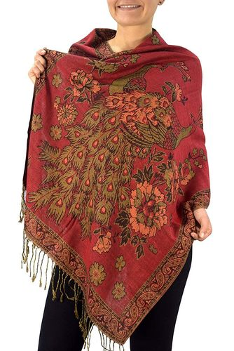 Red Floral Peacock Reversible Pashmina Wrap Shawl Scarf