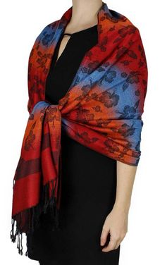 Red Orange Silky Hawaiian Pansy Shawl Scarf