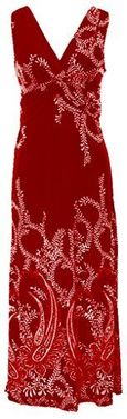 Peach Couture� Paisley Knotted Sleeveless Maxi Dress Beach Dress Evening Dress (Small, Red)