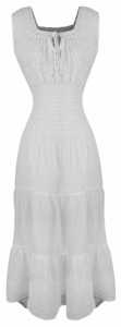 White Renaissance 100% Cotton Embroidered Sleeveless Gypsy Tank Dress