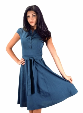 Blue Retro 100% Cotton Button Up Tea Party Swing Vintage Dress Fabric Belt