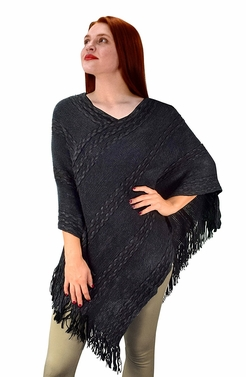 Retro Style Thick Knit Cozy Winter Poncho Sweater With Fringes Black