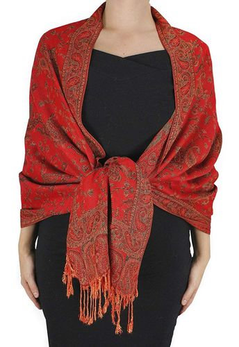 Red Reversible Paisley Floral Shawl