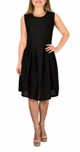 Black Ribbed Sleeveless Knee Length Skater Dress