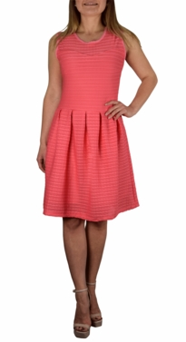 Ribbed Sleeveless Knee Length Skater Dress - More Colors