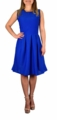 Ribbed Sleeveless Knee Length Skater Dress (Royal Blue)
