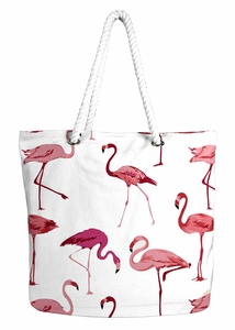 Flamingo Rope Accent Handle Cotton Canvas Tote Bag Handbags Shoulder Bags