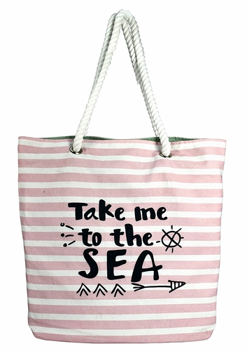Pink Stripe Rope Accent Handle Cotton Canvas Tote Bag Handbags Shoulder Bags