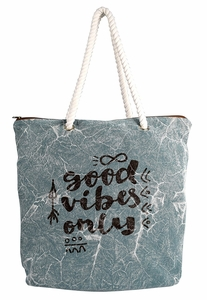 Teal Rope Accent Handle Cotton Canvas Tote Bag Handbags Shoulder Bags