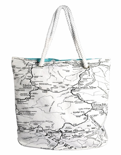 Treasure Map Print Rope Accent Handle Cotton Canvas Tote Bag Handbags Shoulder Bags