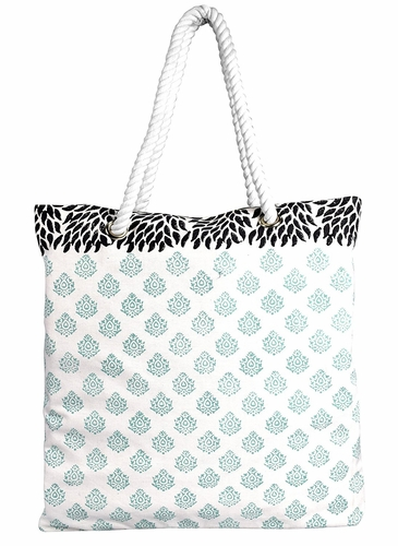 Damask Mint Rope Accent Handle Cotton Canvas Tote Bag Handbags Shoulder Bags