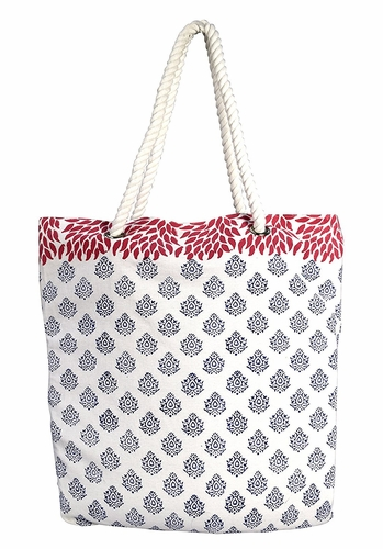 Damask Navy Rope Accent Handle Cotton Canvas Tote Bag Handbags Shoulder Bags