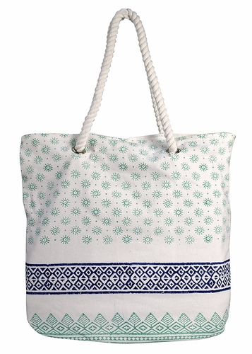 Tribal Mint Rope Accent Handle Cotton Canvas Tote Bag Handbags Shoulder Bags