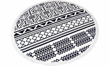 Black Aztec Roundie Beach Towel Yoga Mats
