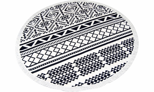 Roundie Beach Towel Yoga Mats Thick Terry Cotton with Fringe Tassels - Black Aztec